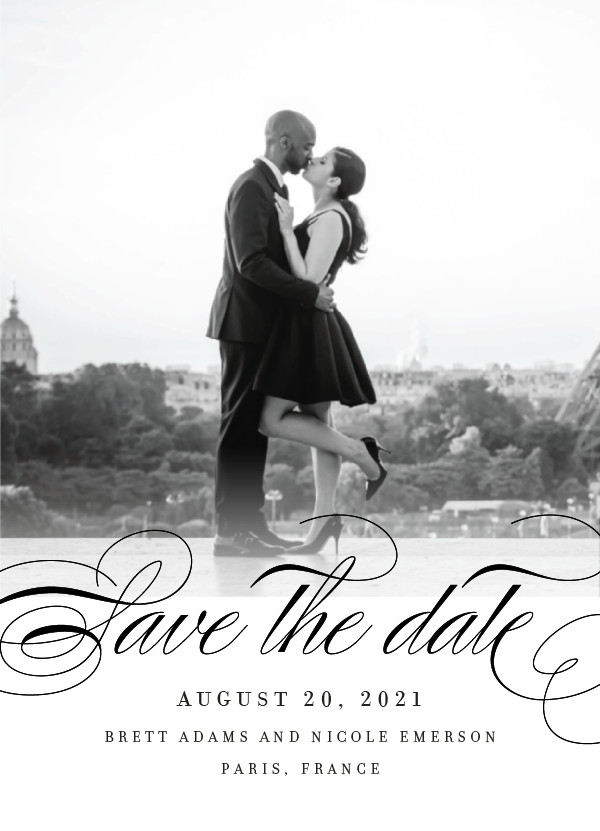 'Clean Script (Noir)' Black Save the Dates