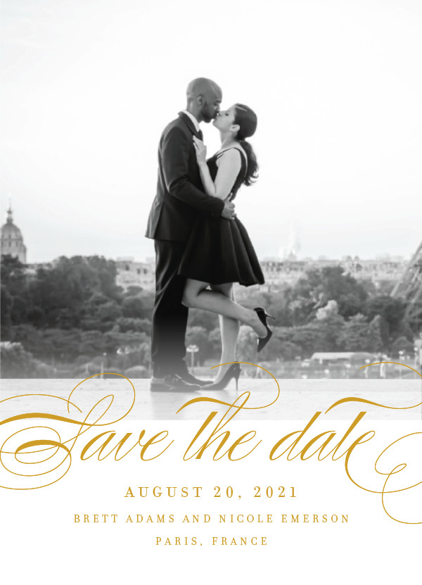 'Clean Script (Gold)' Save-the-Dates
