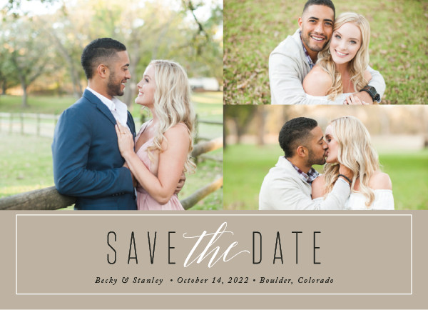 'Opulent (Almond)' Brown Save the Dates