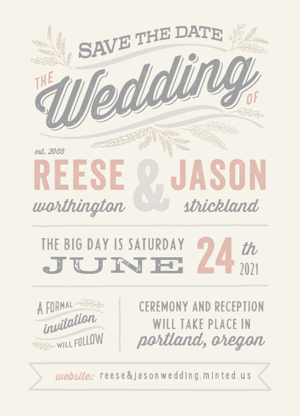 'Rustic Charm (Petal)' Wedding Save the Date