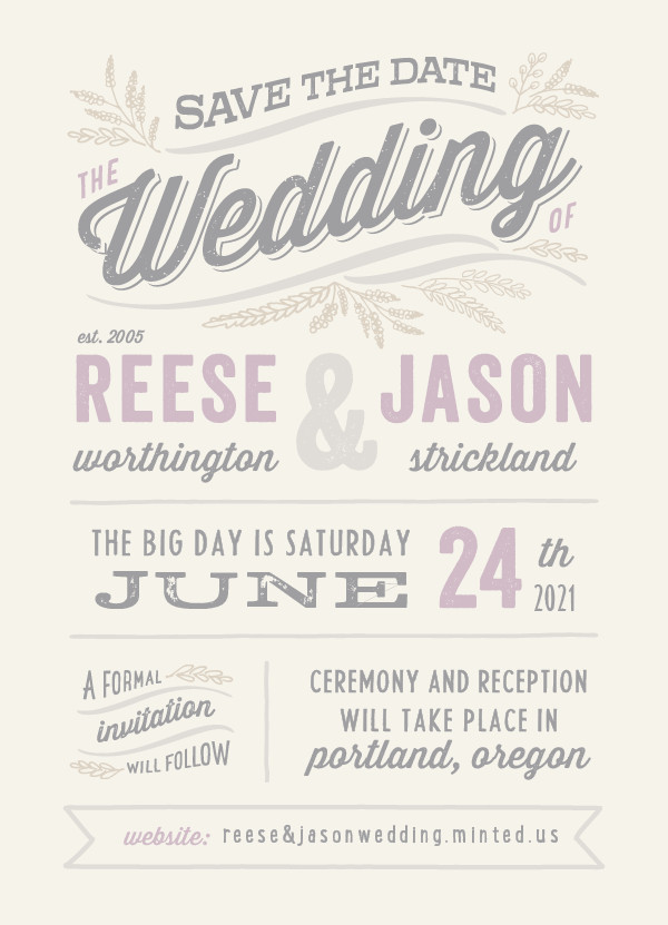 'Rustic Charm (Orchid)' Save-the-Dates