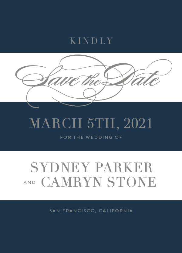 'Fashion District (Navy)' Save the Date Card