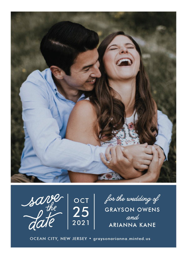 'Sweet & Modern (Navy)' Save the Date Card