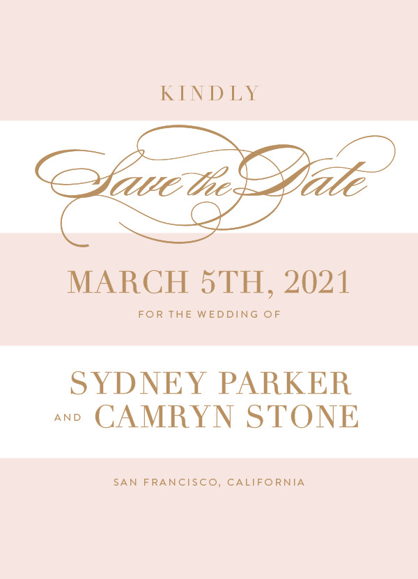 'Fashion District (Blush)' Wedding Save the Date