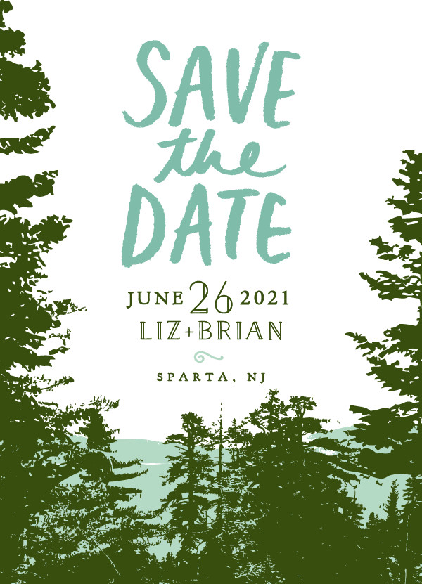 'Mountain View (Pine Green)' Wedding Save the Date