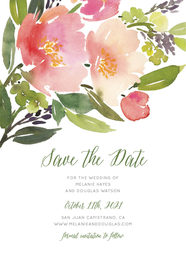 'Watercolor Floral (Rose)' Wedding Save the Date