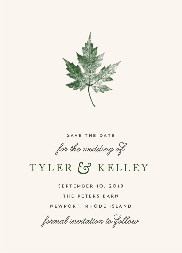 'Leaf Print (Sage)' Save the Date Card