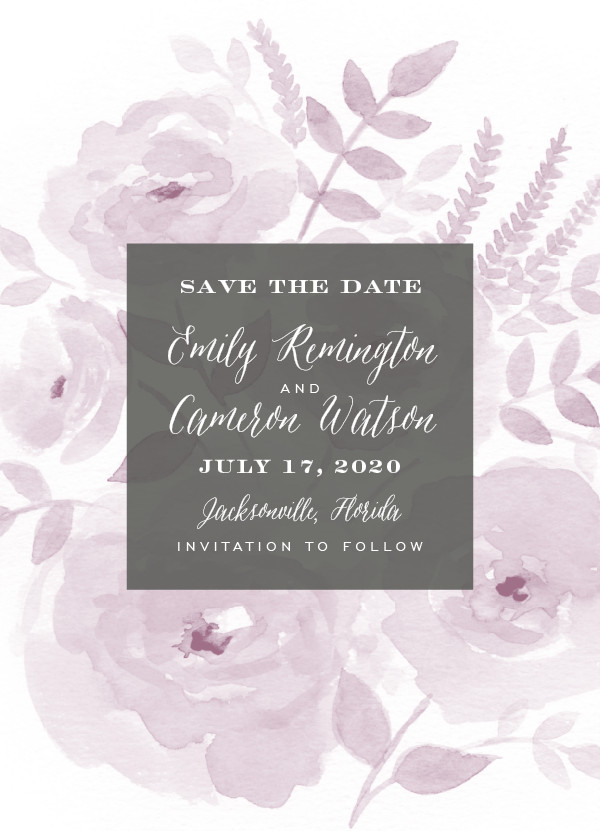 'Watercolor Floral (Lilac)' Save-the-Date