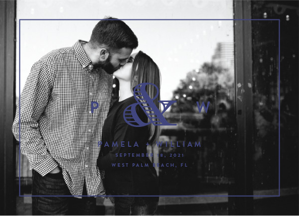 'Esquire (Navy)' Monogram Save the Dates