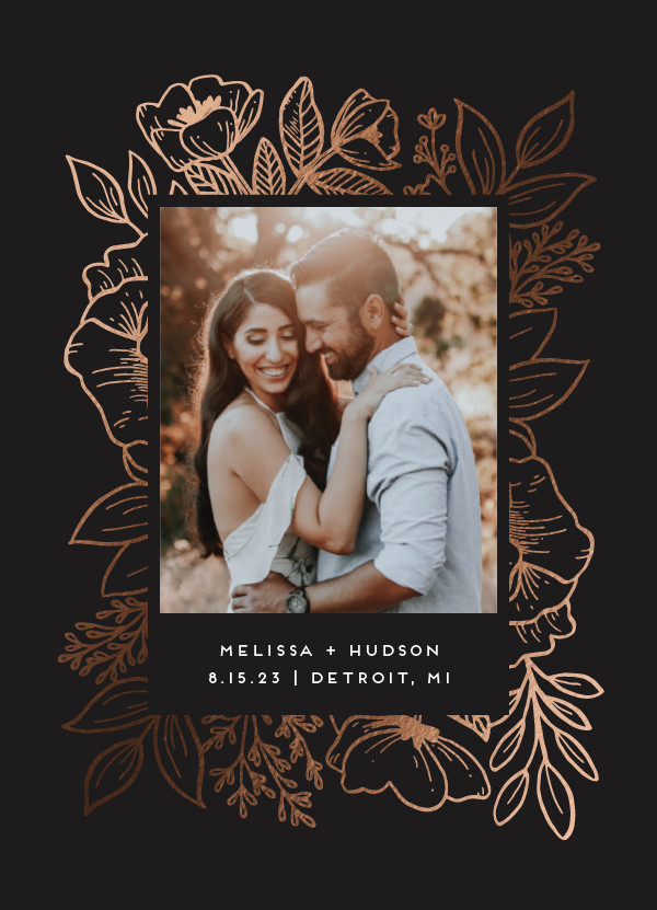 ' (Charcoal)' Floral Save the Dates