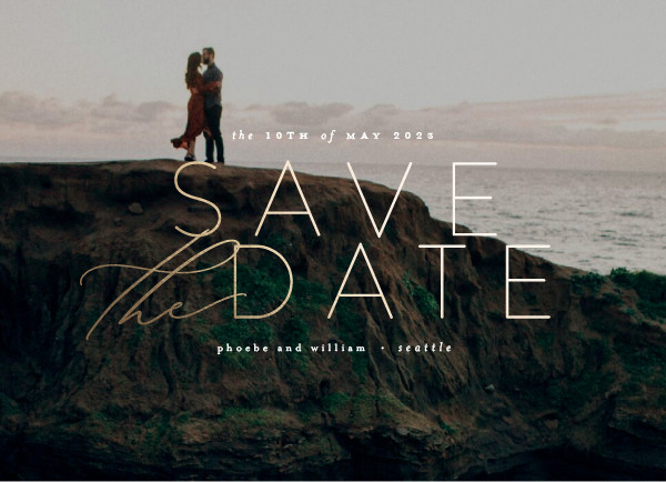 ' (Ivory)' Modern Save the Dates