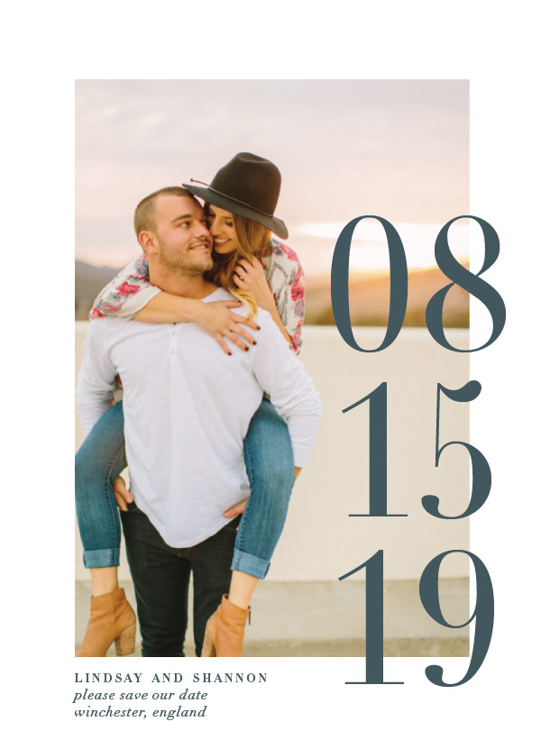 'Big Date (Slate)' Save the Date Card